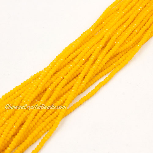 1.5x2mm rondelle crystal beads, opaque yellow, 190Pcs