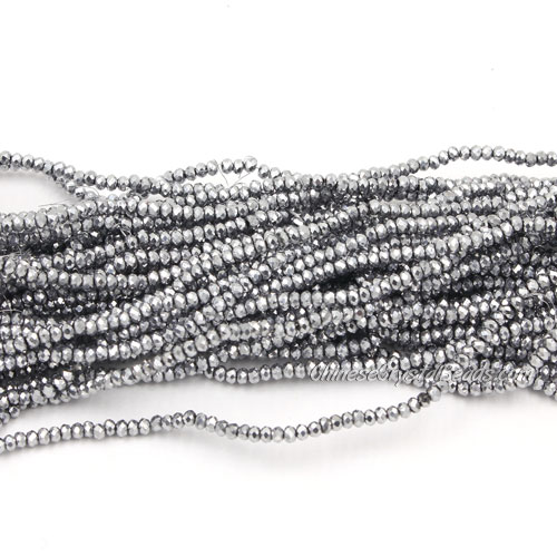1.5x2mm rondelle crystal beads, platinum silver, 190Pcs