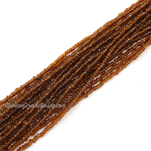 1.5x2mm rondelle crystal beads, smoke topaz, 190Pcs