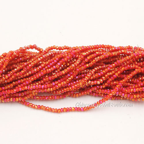 1.5x2mm rondelle crystal beads, red velvet 002, 190Pcs
