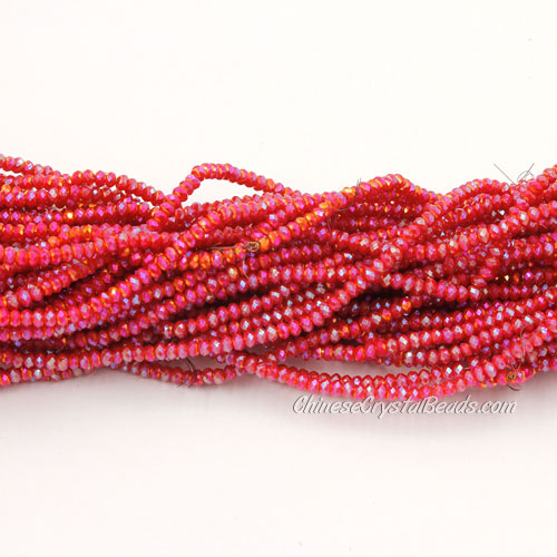 1.5x2mm rondelle crystal beads, red velvet 003, 190Pcs