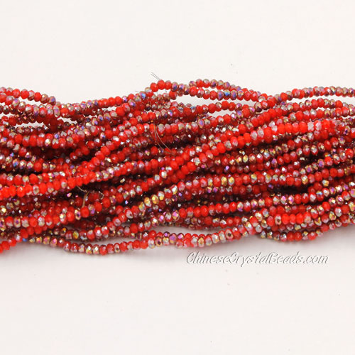 1.5x2mm rondelle crystal beads, red velvet 008, 190Pcs