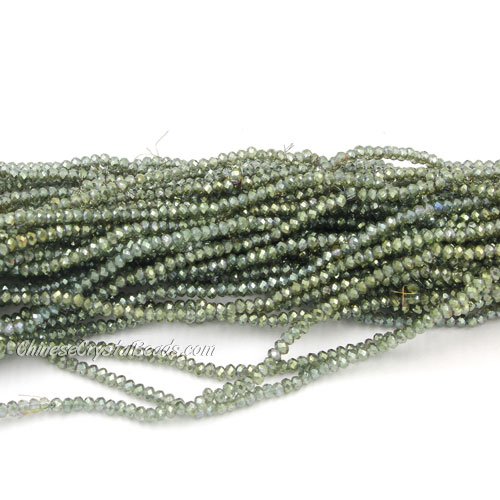 1.5x2mm rondelle crystal beads, yellow and green light, 190Pcs