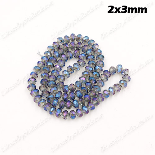 2x3mm Chinese Crystal Rondelle Beads, transparently blue light, 145pcs