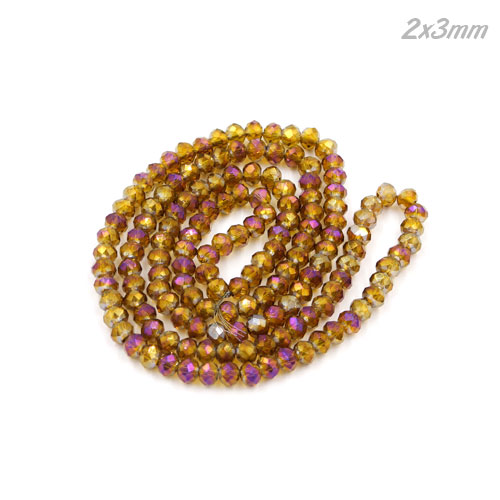 (new color) 2x3mm Chinese Crystal Rondelle Beads strand, brown purple light, 145pcs