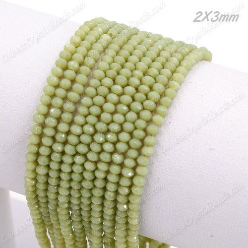 2x3mm Chinese Crystal Rondelle Beads, opaque lt olive green , 145pcs