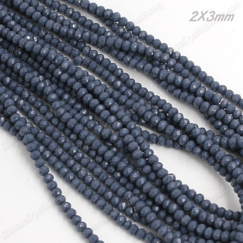 2x3mm Chinese Crystal Rondelle Beads, opaque med blue , about 150 beads