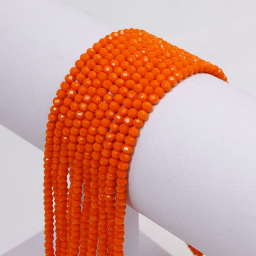 2x3mm Chinese Crystal Rondelle Beads strand, opaque orange, 145pcs