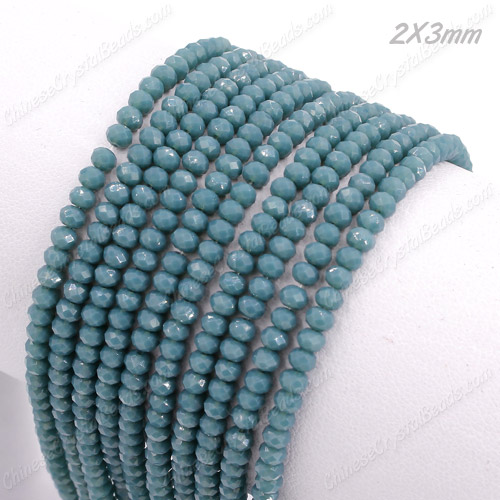 145Pcs 2x3mm Chinese Crystal Rondelle Beads Strand, opaque teal