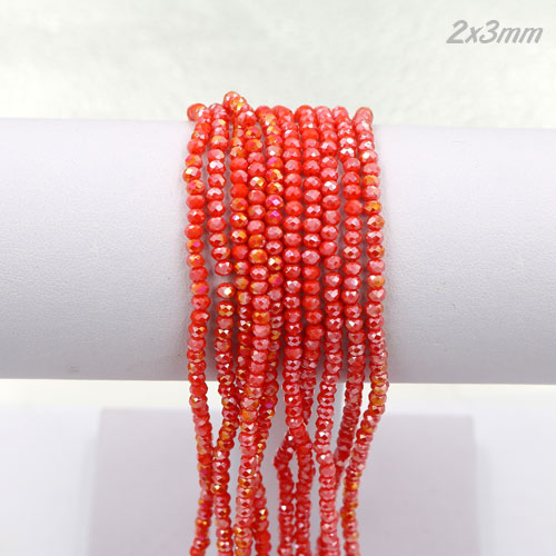 2x3mm Chinese Crystal Rondelle Beads strand, red violet AB, 145pcs