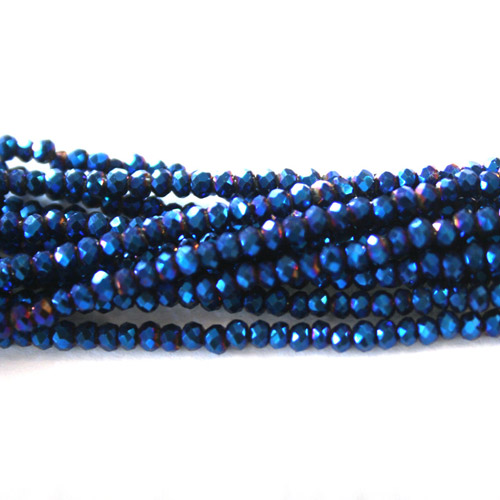 2x3mm Chinese Crystal Rondelle Beads, Blue light,about 150 Beads