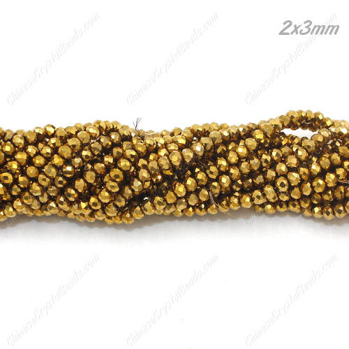 2x3mm Chinese Crystal Rondelle Beads, Gold,about 150 Beads