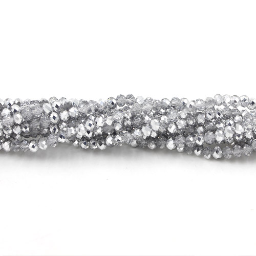 2x3mm Chinese Crystal Rondelle Beads, half Silver,about 150 Beads