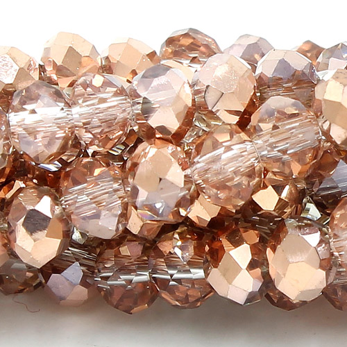 Chinese Crystal Rondelle Strand, 2x3mm, half copper light, about 150  beads