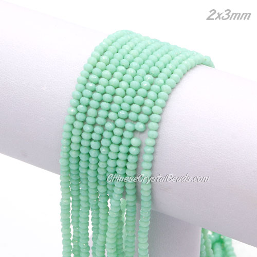 145Pcs 2x3mm Chinese Crystal Rondelle Beads Strand, lt Turquoise