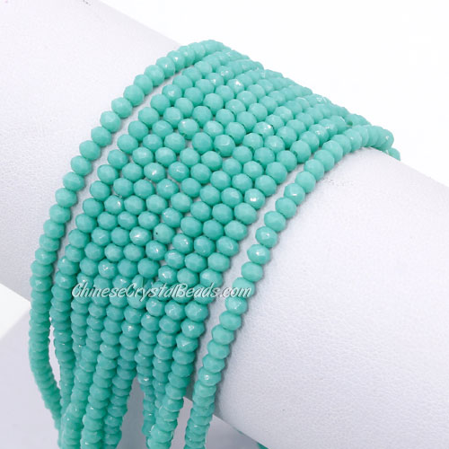 145Pcs 2x3mm Chinese Crystal Rondelle Beads Strand,  Turquoise