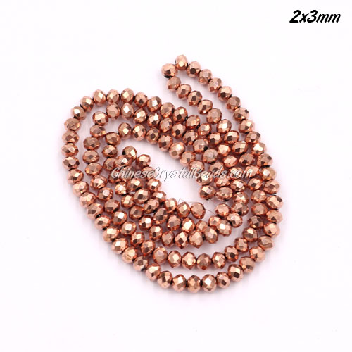 2x3mm Chinese Crystal Rondelle Beads strand, rose gold light, 145pcs