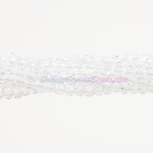 2x3mm Chinese Crystal Rondelle Beads, Clear , about 150 beads