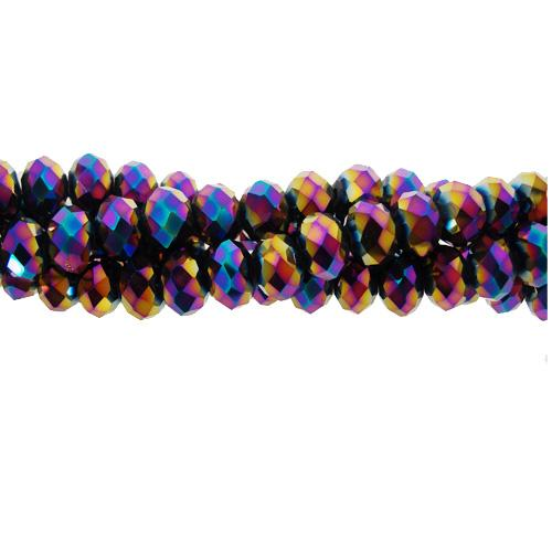 2x3mm Chinese Crystal Rondelle Beads, Rainbow , about 150 beads