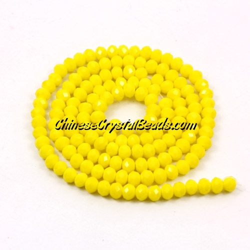 2x3mm Chinese Crystal Rondelle Beads, opaqul yellow, about 150 Beads