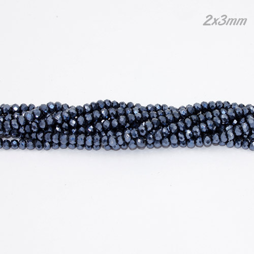 2x3mm Chinese Crystal Rondelle Beads, Gun Metal , about 150 beads