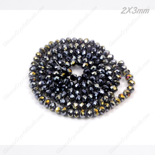 2x3mm Chinese Crystal Rondelle Beads, Black AB, about 150 beads