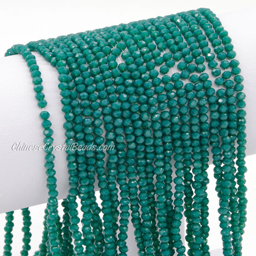 2x3mm Chinese Crystal Rondelle Beads, opaque emerald , about 150 beads