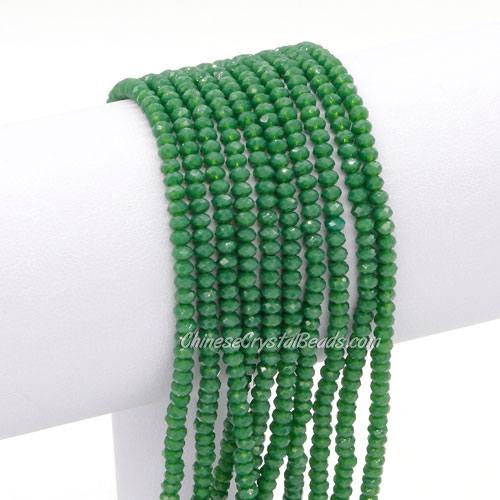 2x3mm Chinese Crystal Rondelle Beads, opaque green , about 150 beads