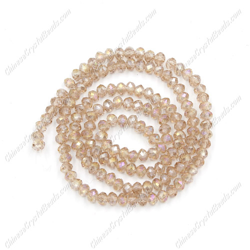 2x3mm Chinese Crystal Rondelle Beads, Silver Champagne AB, about 150 beads