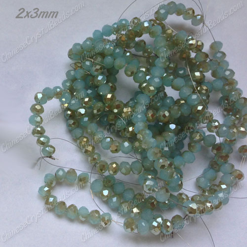 145Pcs 2x3mm Chinese Crystal Rondelle Beads Strand, aqua jade and champange