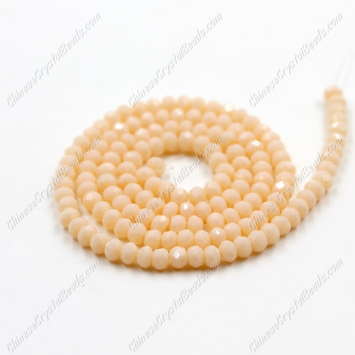 2x3mm Chinese Crystal Rondelle Beads, opaque peach, about 150 beads