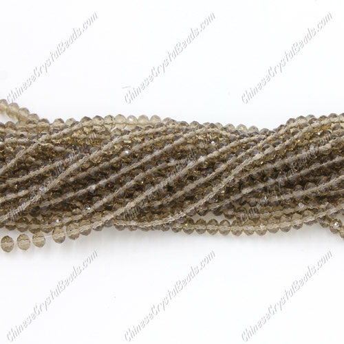 2x3mm Chinese Crystal Rondelle Beads, smoke , about 150 beads