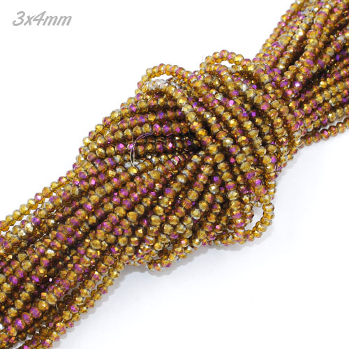 (new color) 3x4mm Chinese Crystal Rondelle Beads strand, brown purple light, 145pcs