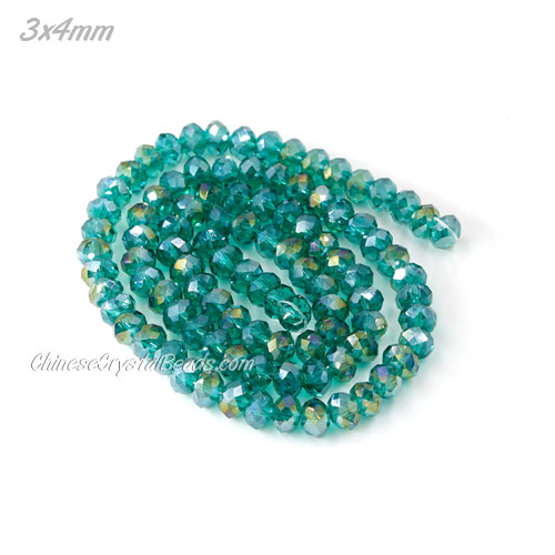 150pcs 3x4mm Chinese Crystal Rondelle Bead Strand, Emerald AB