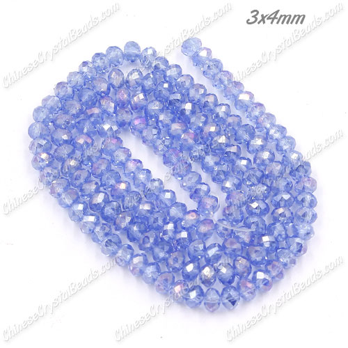 Chinese Crystal Long Rondelle Strand, 3x4mm, Light Sapphire AB , about 150 beads