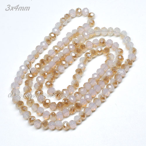 3x4mm Chinese Crystal Rondelle Beads strand, opal half amber light, 145pcs