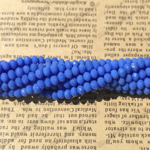 Chinese Crystal Long Rondelle Bead Strand,opaque med sapphire, 3x4mm , about 145 beads