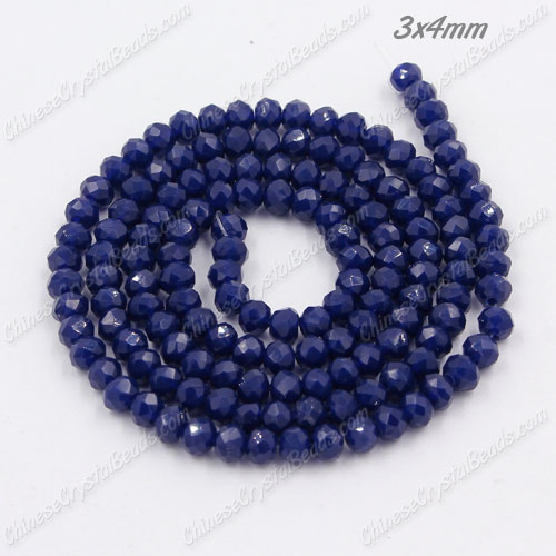 Chinese Crystal Rondelle beads, 3x4mm, navy blue , about 145 beads