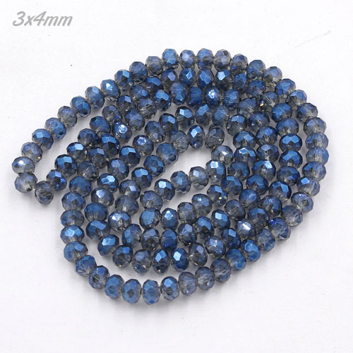 3x4mm Chinese Crystal Rondelle Beads, Magic Blue , 145 beads