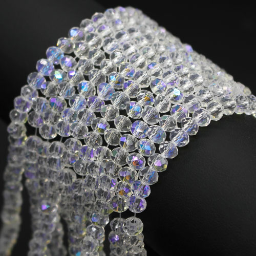 3x4mm Chinese Crystal Rondelle Beads, AAA clear AB, 145pcs