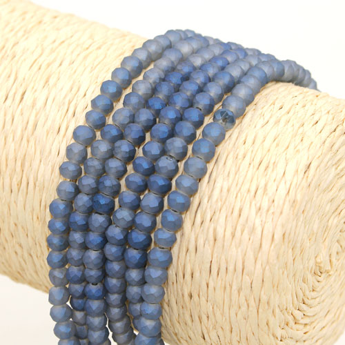 145Pcs 3x4mm Chinese Crystal rondelle beads, Matte Magic Blue