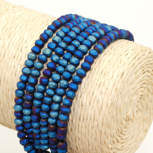 145Pcs 3x4mm Chinese Crystal rondelle beads, Matte blue light