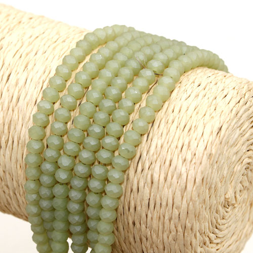 145Pcs 3x4mm Chinese Crystal rondelle beads, Matte green light