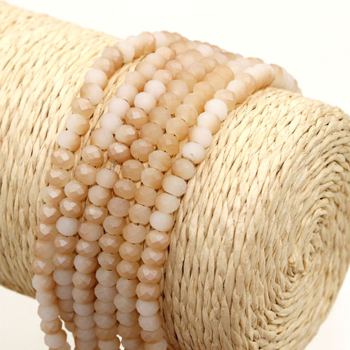 145Pcs 3x4mm Chinese Crystal rondelle beads, white jade Matte half brown