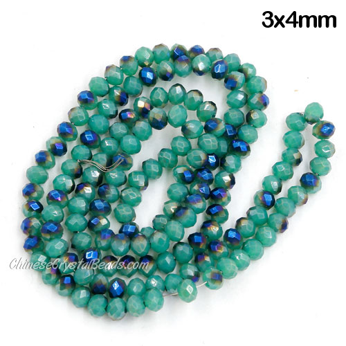 Crystal Rondelle Beads,opaque cyan and blue light, 3x4mm, about 150 beads