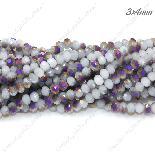Chinese Crystal Rondelle Beads, white jade and half purple light, 3x4mm , about 150 beads