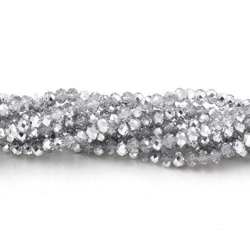 Chinese Crystal Long Rondelle Strand, 3x4mm, half silver, about 150 beads