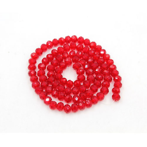 Chinese Crystal Long Rondelle Strand, 3x4mm, Siam , about 150 beads