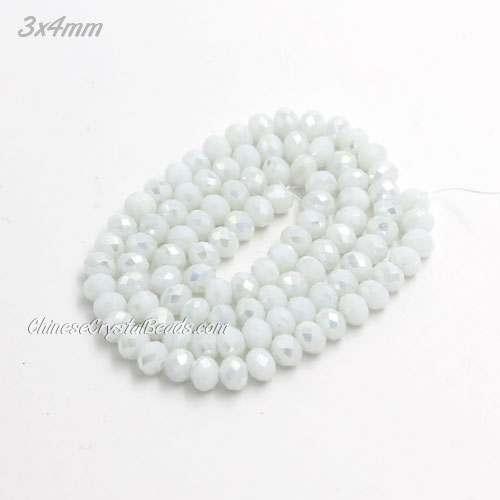 145Pcs 3x4mm Chinese Crystal Rondelle Beads, White Linen AB