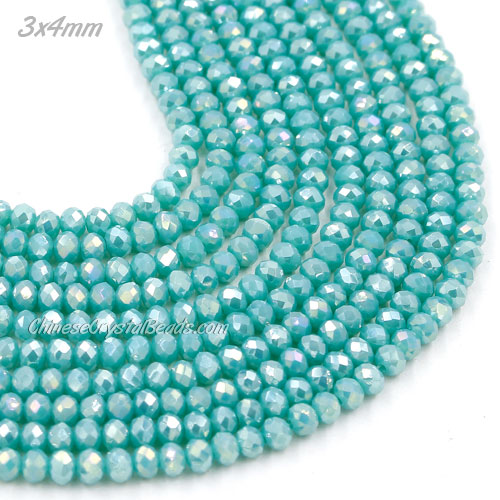 145Pcs 3x4mm Chinese Crystal Rondelle Beads Strand, Turquoise AB